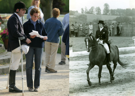 Jessica Ransehousen coaching (left) and competing in 1960 (right).
