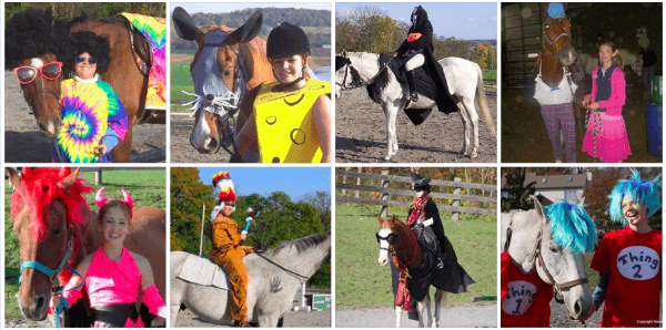 Students at Harvest View Stable participate in a Halloween Class.